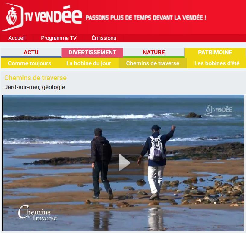 TV Vendée écran émission géologie Jard-sur-mer - Copie