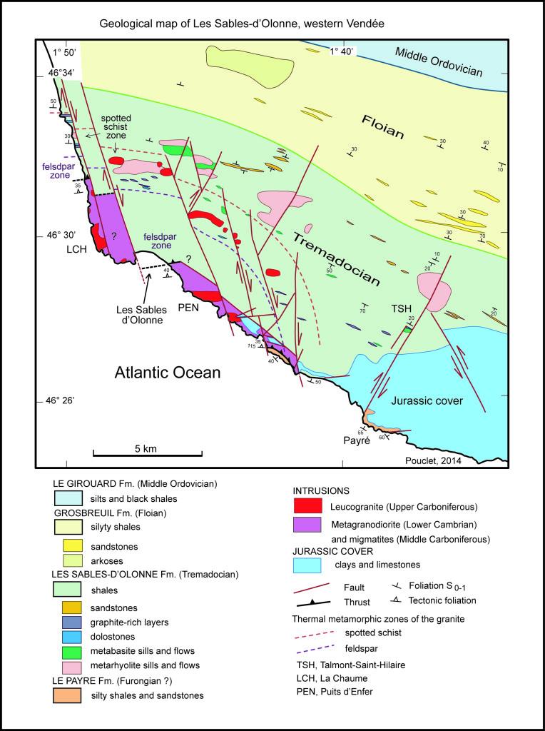 Carte géologique de la région des Sables d'Olonne - Document André Pouclet (2014)