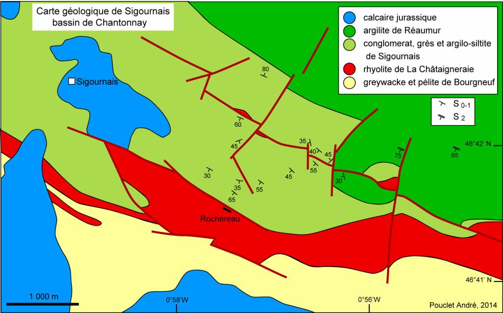 Carte géologique de la région de Sigournais - Bassin de Chantonnay - Document André Pouclet (2014)